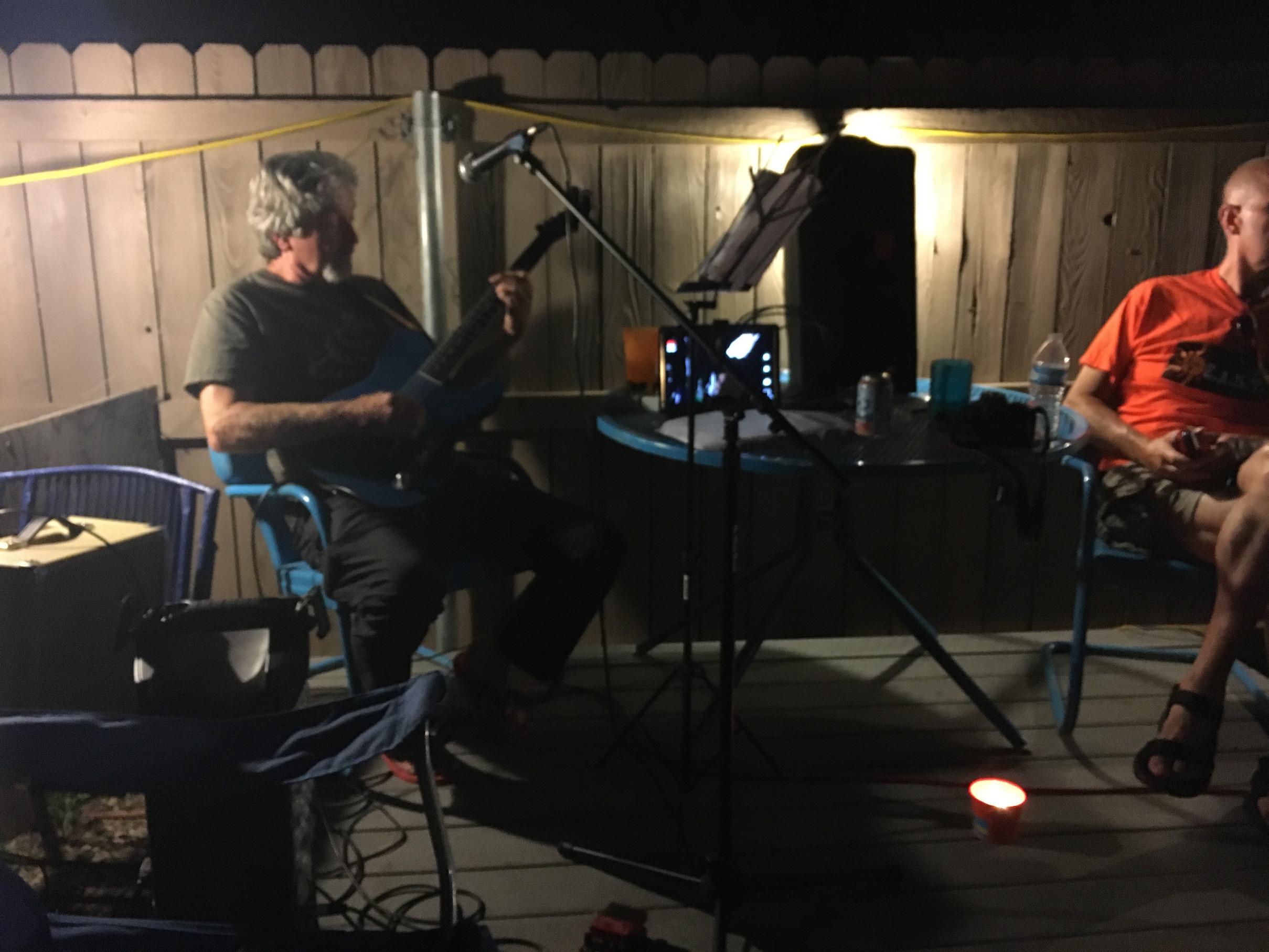 backyard activities music jam pueblo house james smith on guitar